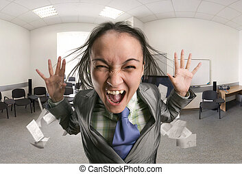 Crazy, shouting woman in the office