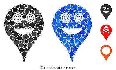 Crazy Smiley Map Marker Composition Icon of Circle Dots