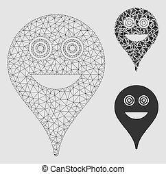 Crazy Smiley Map Marker Vector Mesh Carcass Model and Triangle Mosaic Icon