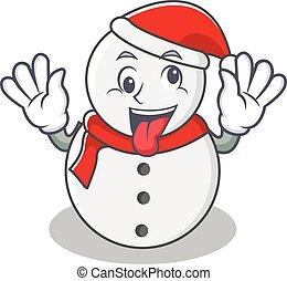 Crazy snowman character cartoon style