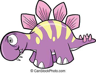 Crazy Stegosaurus Dinosaur Vector