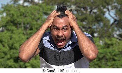 Crazy Stressed Adult Hispanic Man