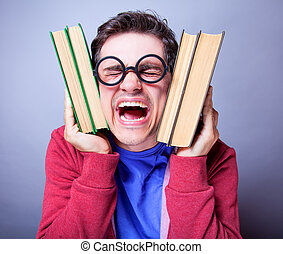 Crazy student with books.