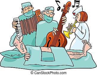 Humorous illustration of crazy surgeons operation band