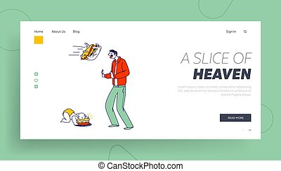 Crazy Surprise Landing Page Template. Male Character Protect from Cake Flying in Face. Baby First Birthday Celebration, Child Eat Pie with Hands Put Face into Cream. Linear People Vector Illustration