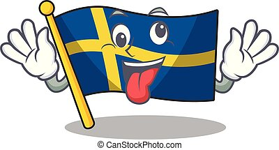 Crazy swede flags flutter on character pole vector ...