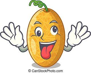 Crazy tasty honeydew melon isolated on mascot