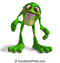Cartoon Frog with funny Face contains Clipping Path