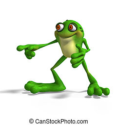 Crazy Toad - Cartoon Frog with funny Face contains Clipping...