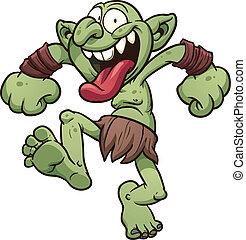 Crazy troll - Crazy cartoon troll. Vector clip art ...