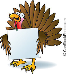 Crazy Turkey With A Sign - A silly turkey with crazy eyes...