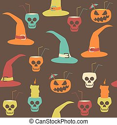 Crazy variegated Halloween party seamless pattern