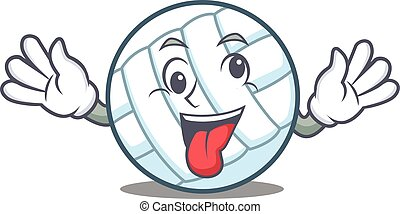 Crazy volley ball character cartoon vector illustration