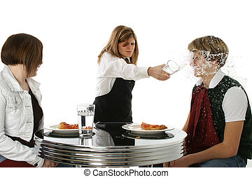 Crazy Waitress - Angry waitress throwing drink in...