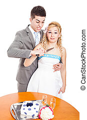 Crazy wedding couple