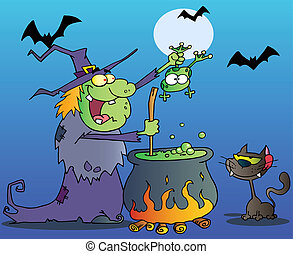 Crazy Witch With Black Cat