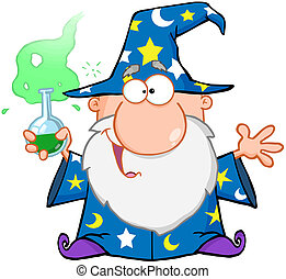 Wizard Holding A Green Magic Potion