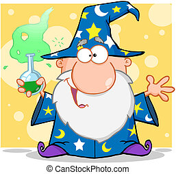 Crazy Wizard Holding A Magic Potion Cartoon Character