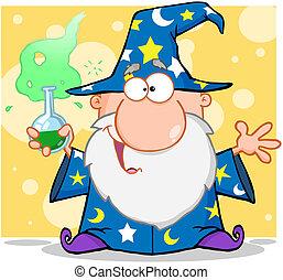 Crazy Wizard Holding A Magic Potion Cartoon Character