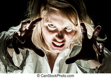 Crazy Woman acting like a Zombie - focus on hands