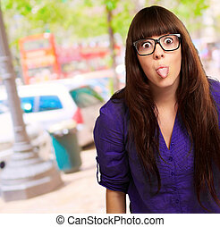 Crazy Woman With Stick Out Tongue