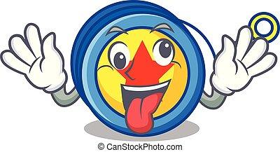 Crazy yoyo mascot cartoon style vector illustration