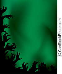 Zombie party at the green skies background with hands in the air