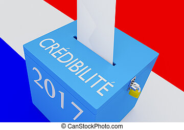 Cr?dibilit? - the French word for Credibility - 3D...