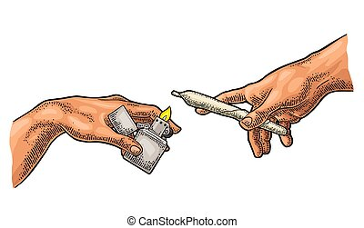 creación, adán, encendedor, marijuana., manos, machos, ...