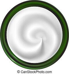 cream., ジャー, らせん状に動きなさい, 手ざわり, above., 白, 光景, swirl.