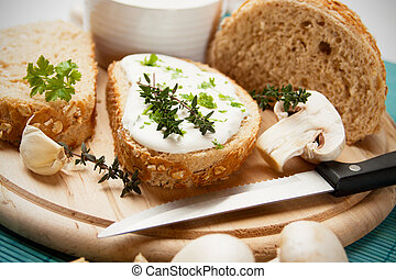 Cream and cheese spread with garlic and herbs