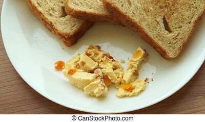 Cream apricot cheese toasts dish - Video of Cream apricot...