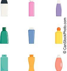 Cream bottle icon set, flat style - Cream bottle icon set....