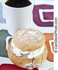 Cream bun and coffee