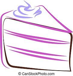 Cream cake drawing, illustration, vector on white background.