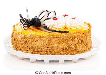 Cream Cake with Chocolate, isolated on white background