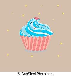 cream cake with pink cherry