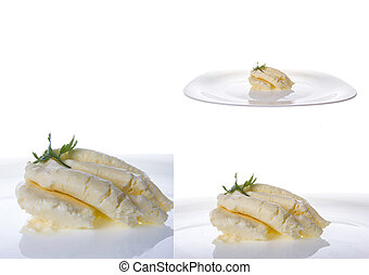 cream cheese in multiple shots on white background