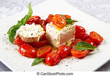 cream cheese with red fresh tomatoes