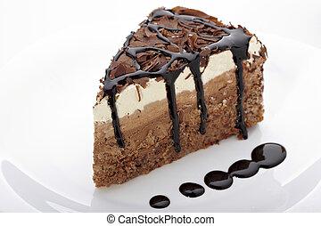 cream chocolate cake sweet food - close up of a chocolate...