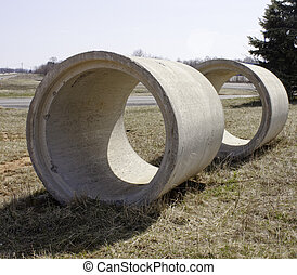 Concrete Sewer Pipes - Cream Colored Concrete Sewer Pipes...