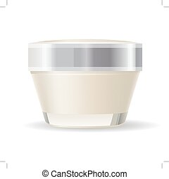 Cream container isolated on white background