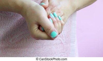 cream., corps, smears, femme, mains, care.