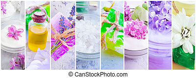 cream cosmetic flower soap oil collage