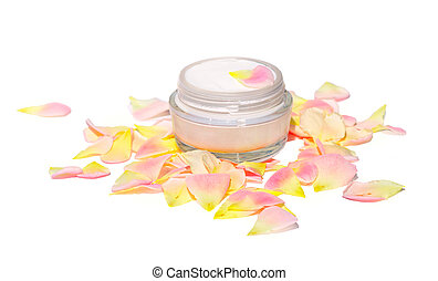 Cream Cosmetic Skin Care Beauty Organic with rose-leaf bio...
