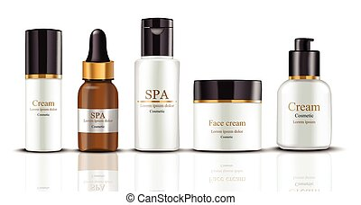 Cream Cosmetics set collection realistic mock up Vector....