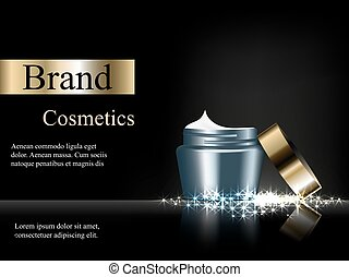 cream dark blue with a gold cap on a dark background with bright stars advertising cosmetics, design, banner, EPS 10, vector 3D, realistic