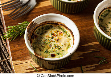 Cream Egg Bake in Ramekin with Fresh Herbs