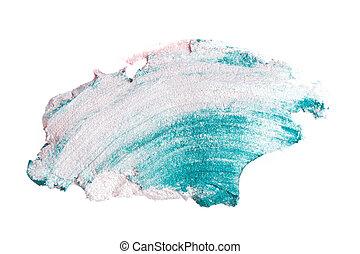 cream eyeshadow with brush isolated on white background