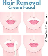 cream for depilation - mustache on the upper lip of a woman,...